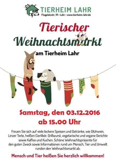 Tierischer Weihnachtsmarkt am 03.12.16 ab 15.00 Uhr